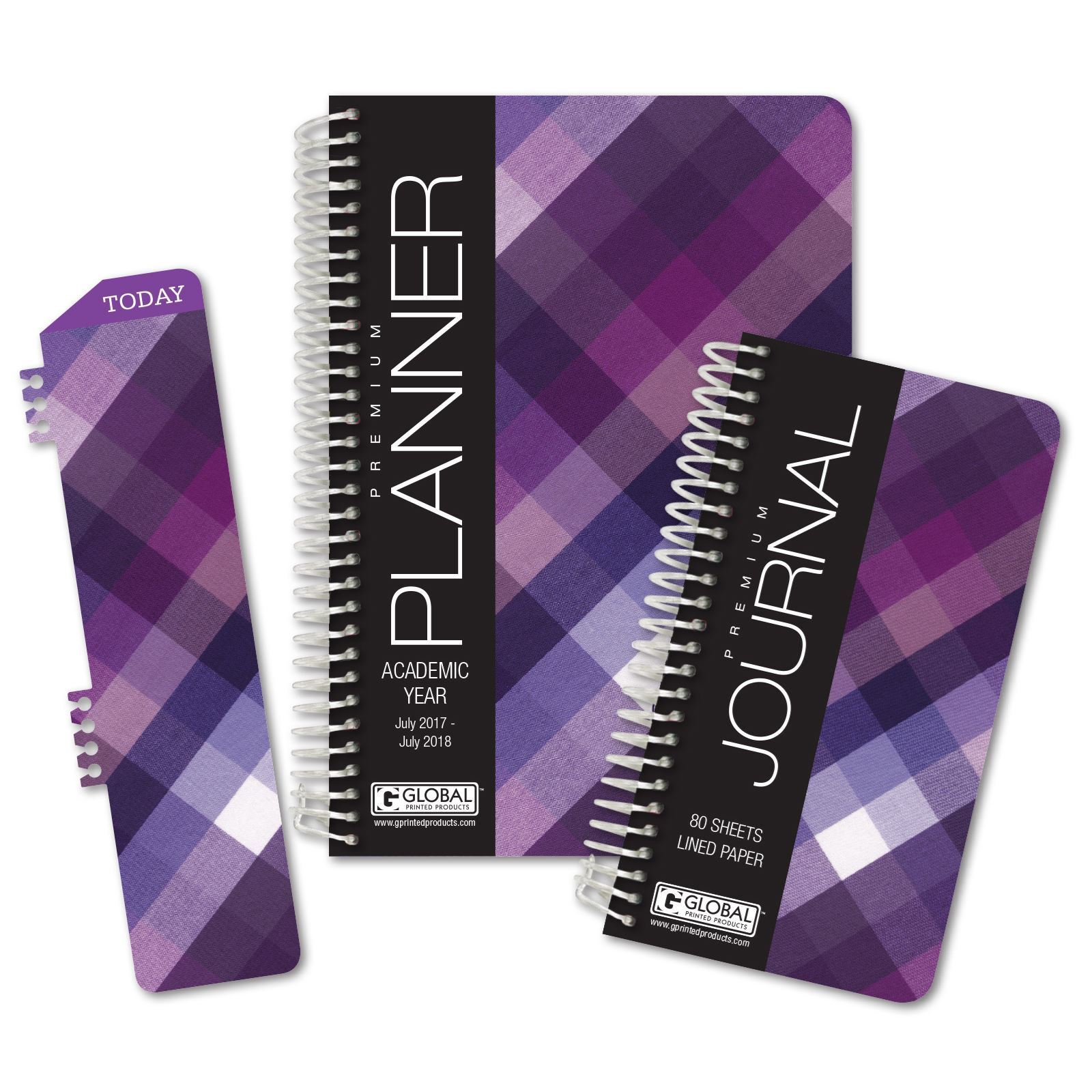 Picture of Academic Year Fashion Planner Daily Set (Purple Plaid Pattern)