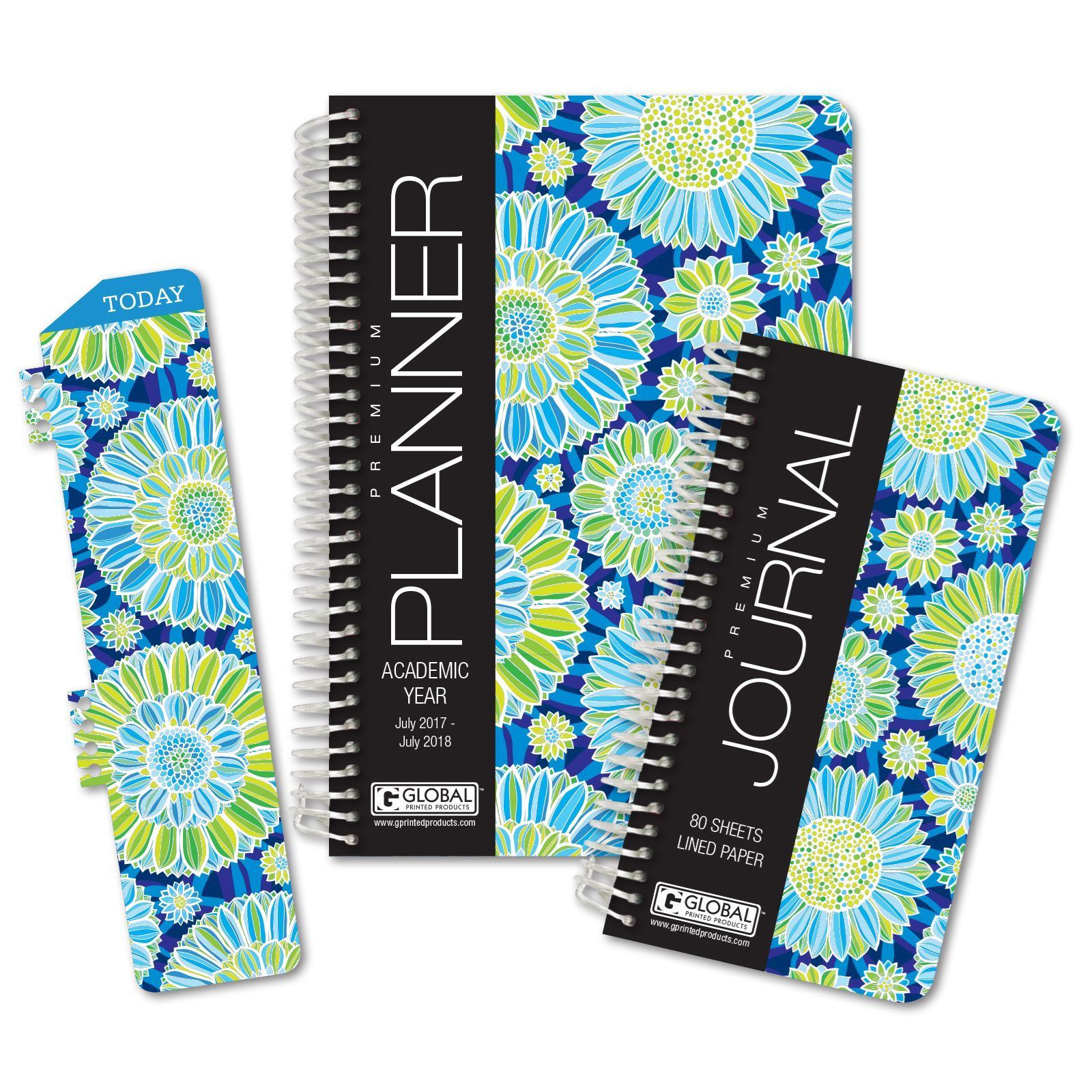 Picture of Academic Year Fashion Planner Daily Set (Blue Green Flower Pattern)