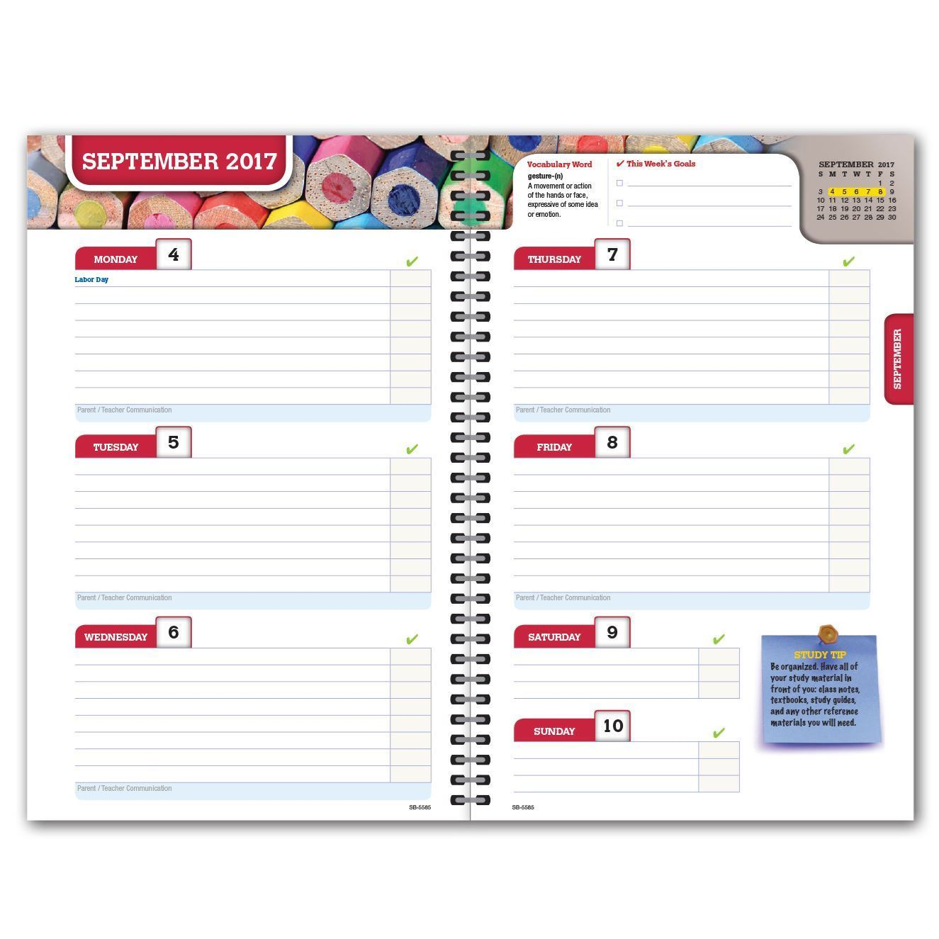 Picture of Secondary Block 5.5x8.5 Student Planner (Cover 2)
