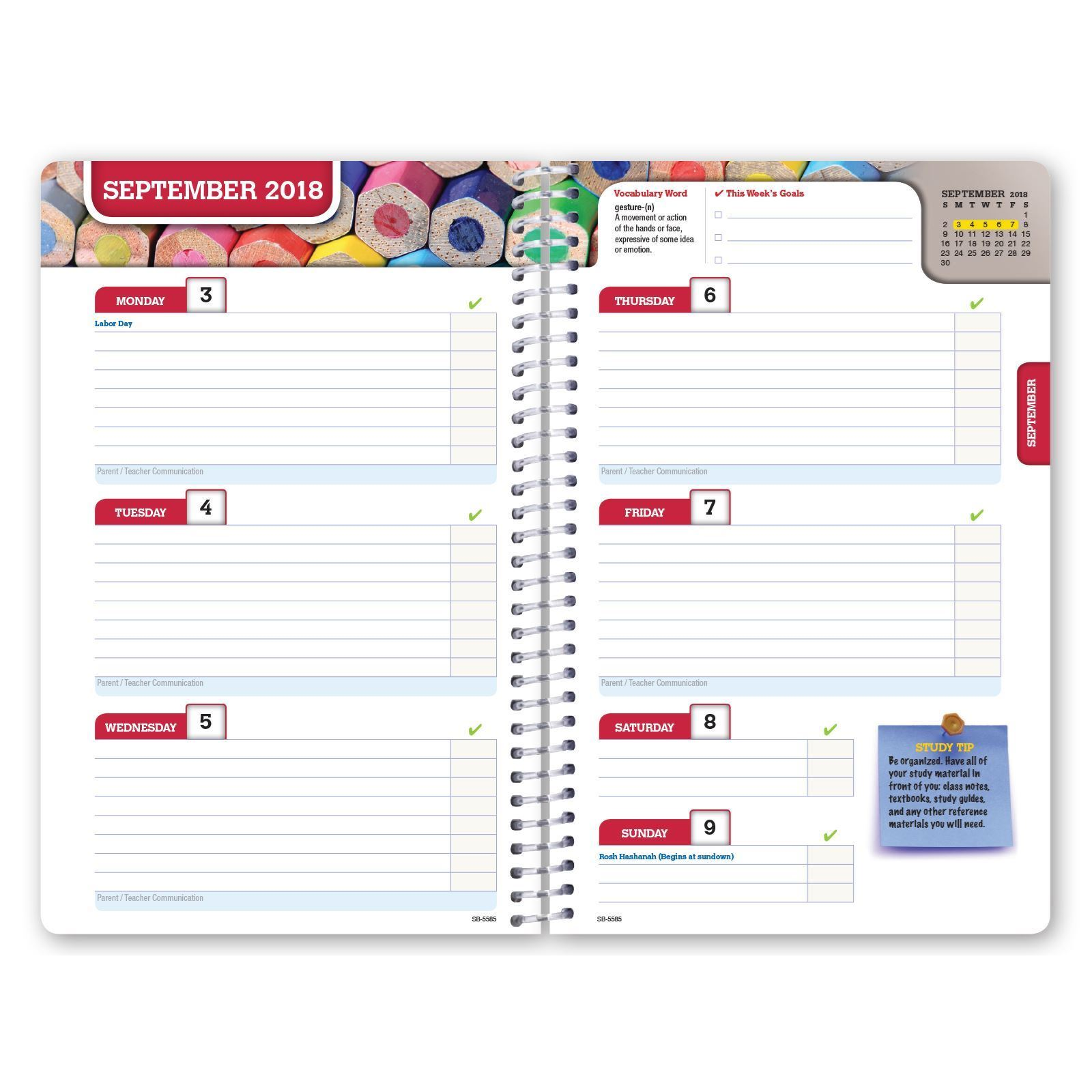 elan publishing  dated middle school or high school student planner for academic year 2018
