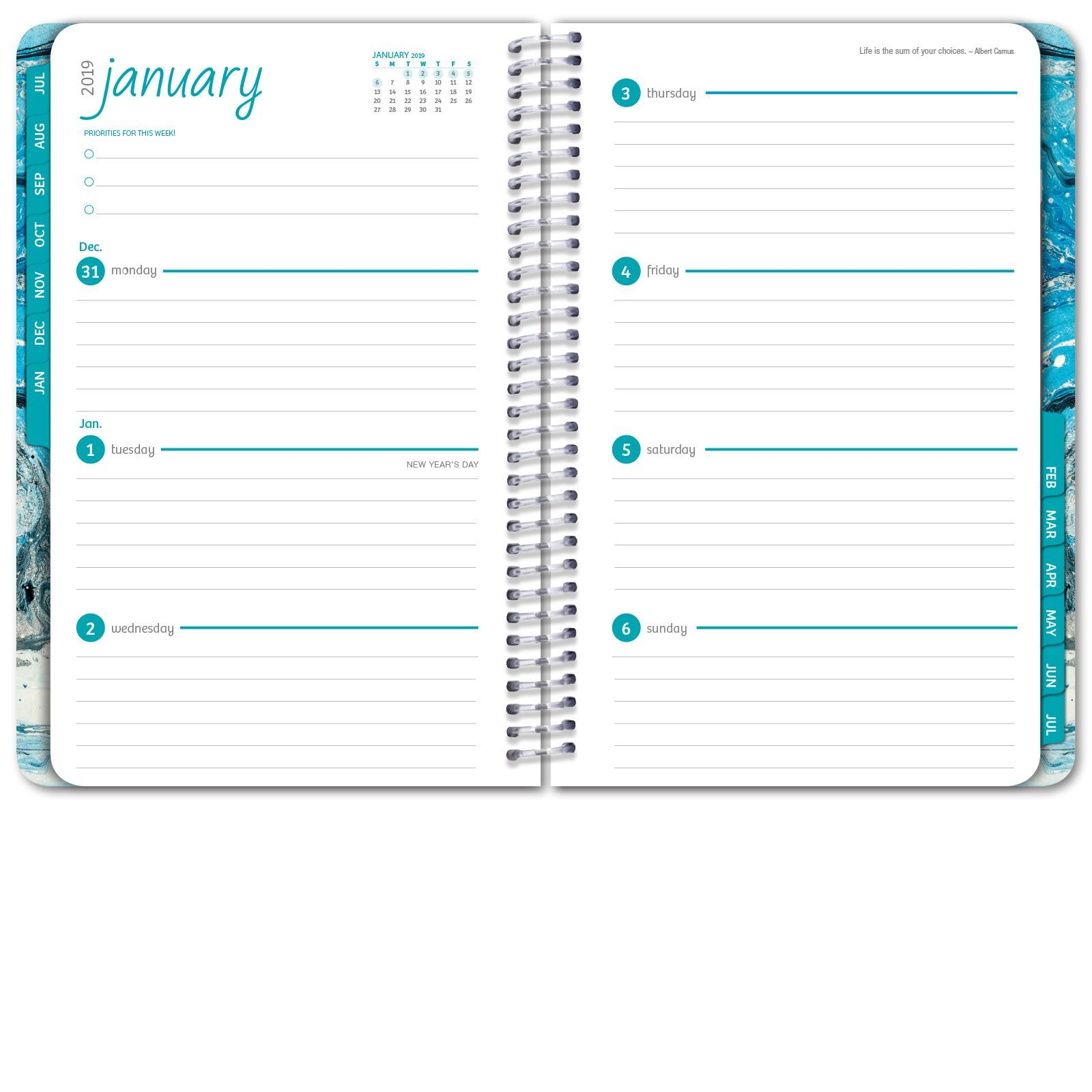 picture of hardcover academic year planner 2018 2019 blue marble