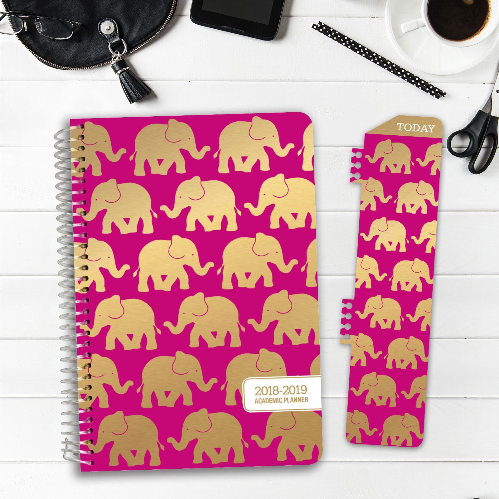 photograph relating to Hardcover Daily Planner named HARDCOVER Educational 12 months Planner 2018-2019 (Elephants)
