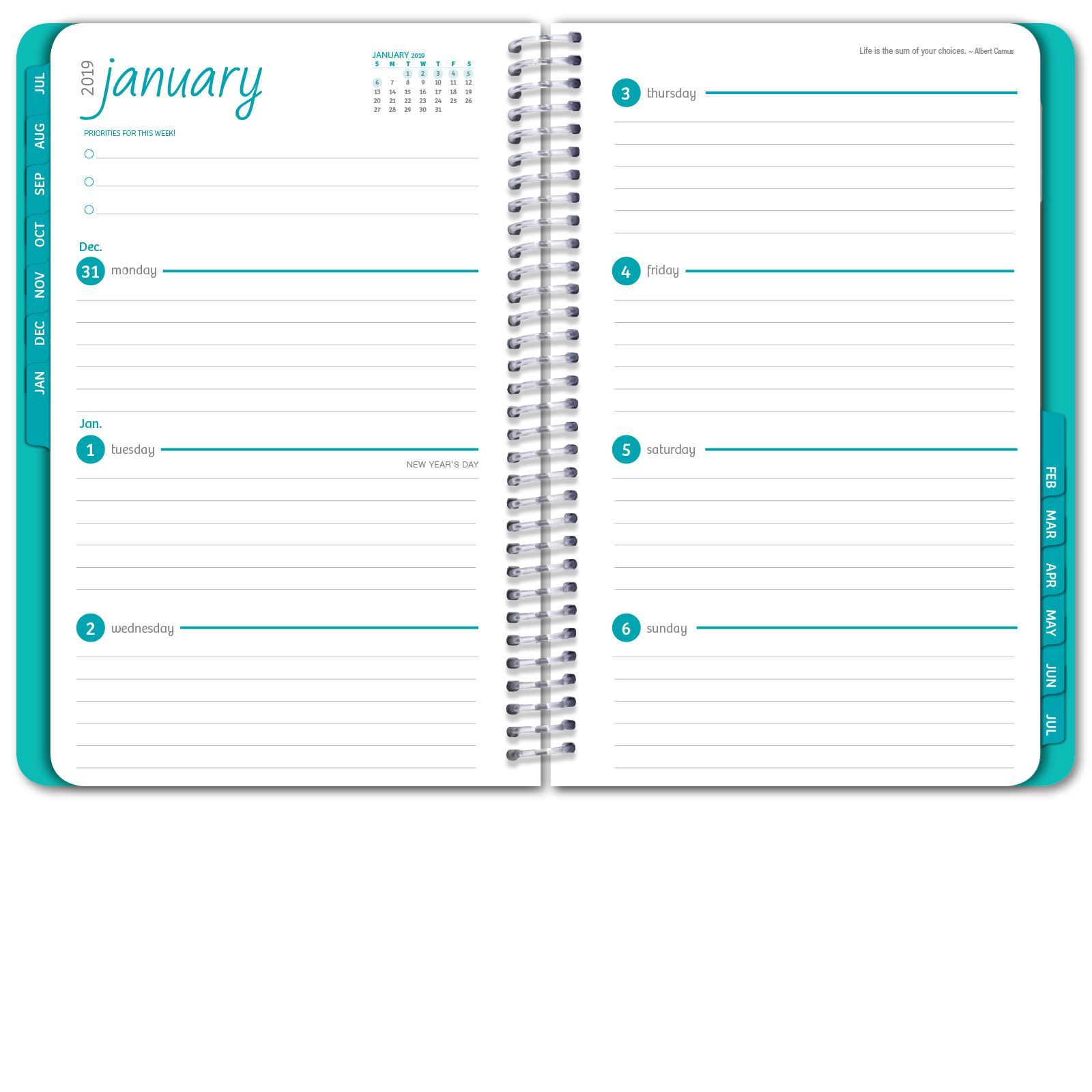 Picture of HARDCOVER Academic Year Planner 2018-2019 (Gold Dots Turquoise)