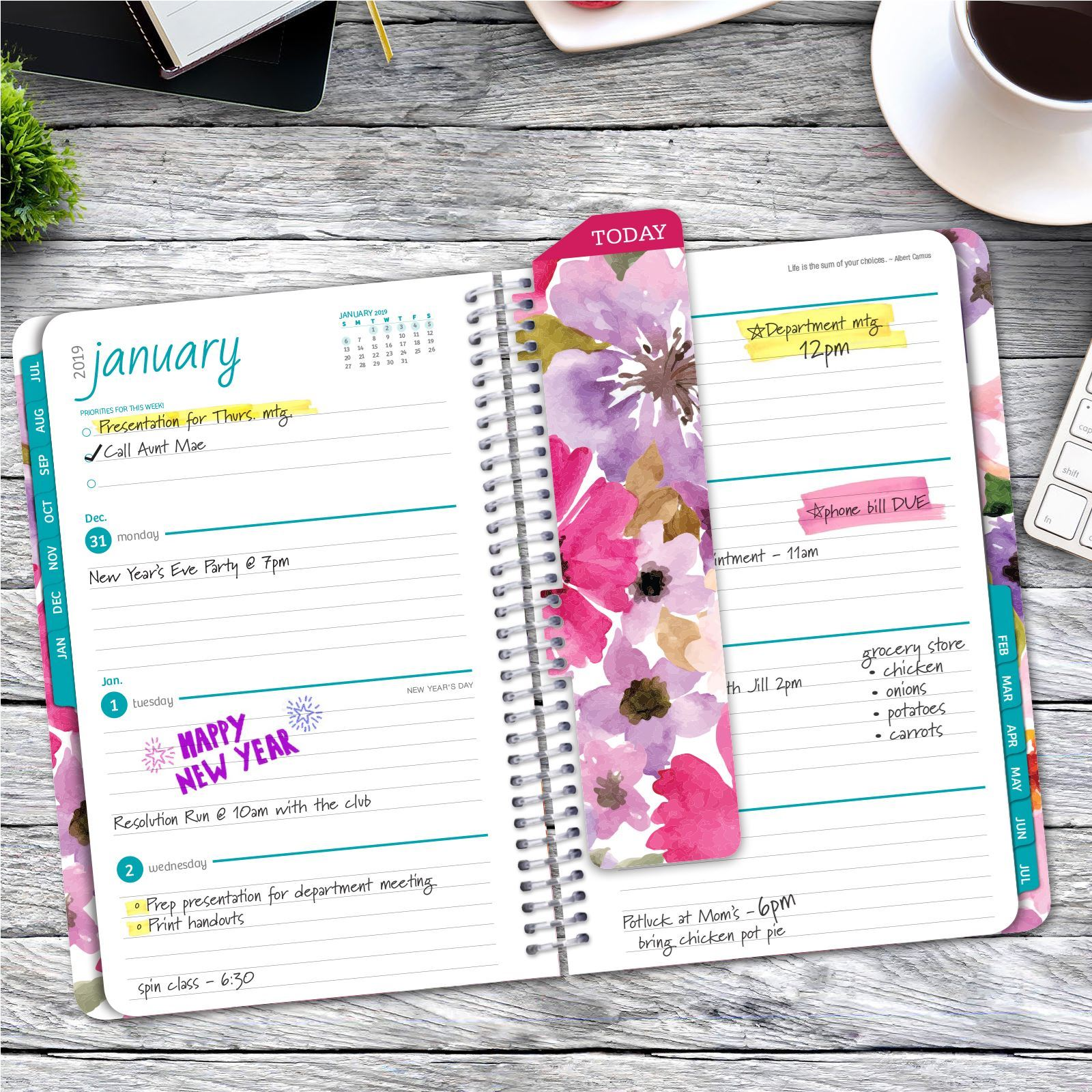 Picture of HARDCOVER Academic Year Planner 2018-2019 (Spring Floral)
