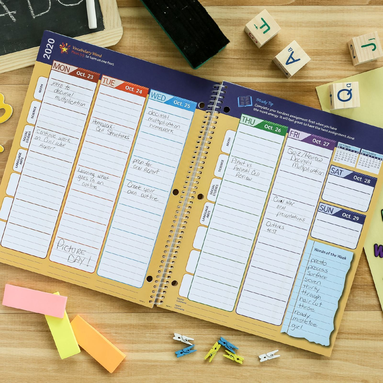 Picture of Dated Elementary Matrix Student Planner for Academic Year 2020-2021