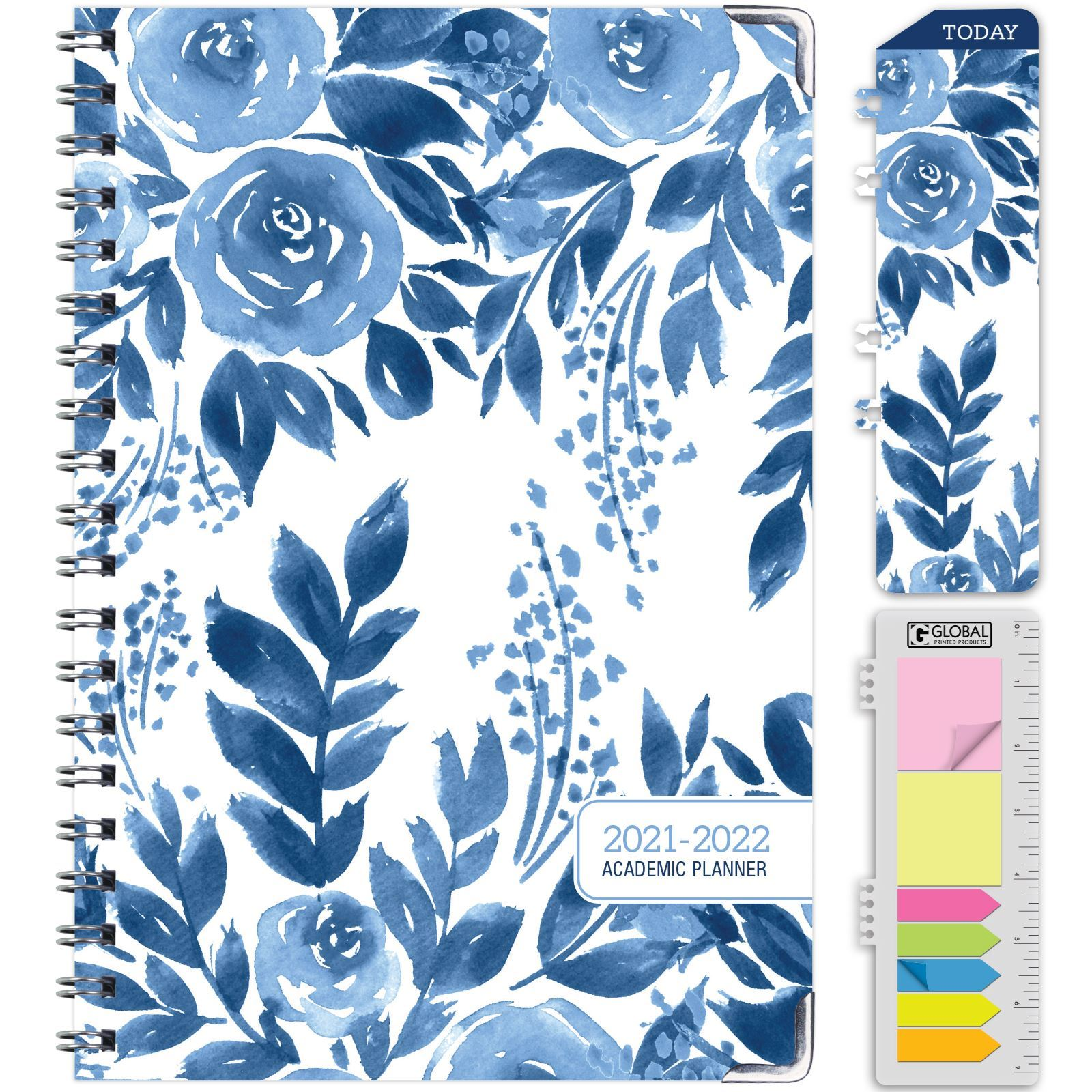 """Picture of HARDCOVER Academic Year 5.5""""x 8.5"""" Planner 2021-2022 (BLUE BLOOM)"""