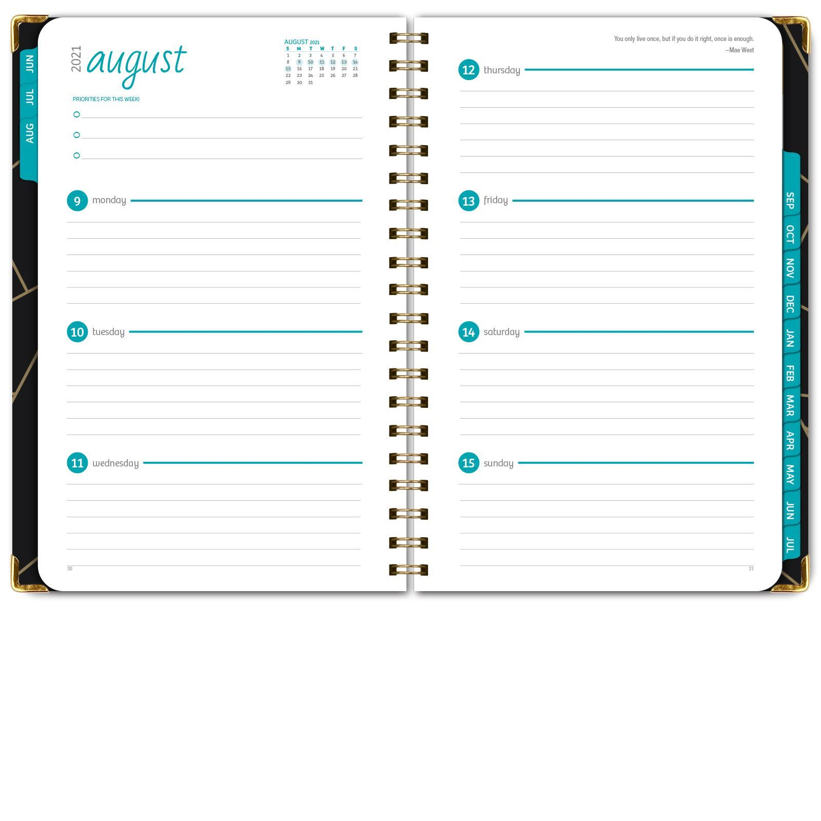 """Picture of HARDCOVER Academic Year 5.5""""x 8.5"""" Planner 2021-2022 (BLACK GOLD TRIANGLES)"""