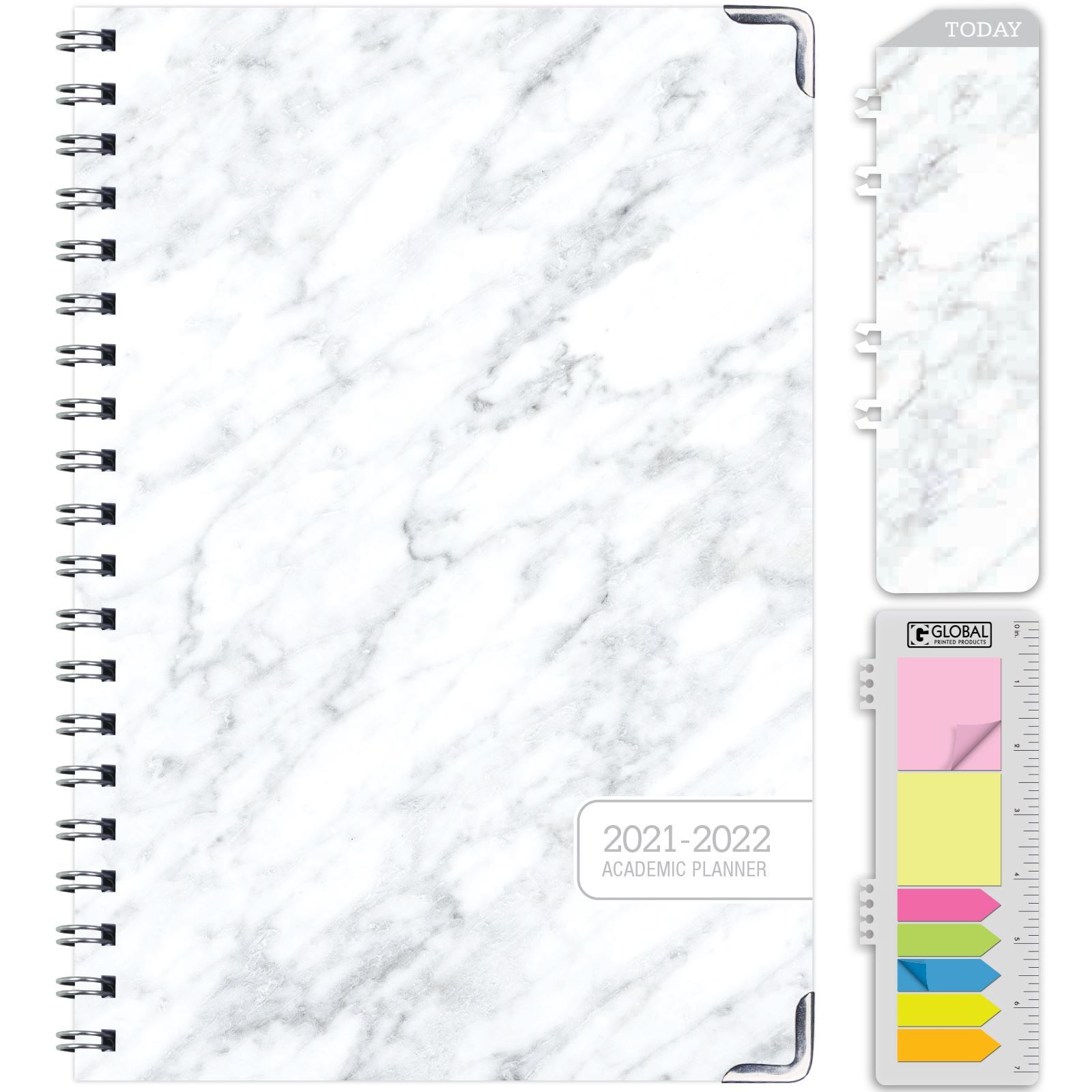 """Picture of HARDCOVER Academic Year 5.5""""x 8.5"""" Planner 2021-2022 (GREY MARBLE)"""